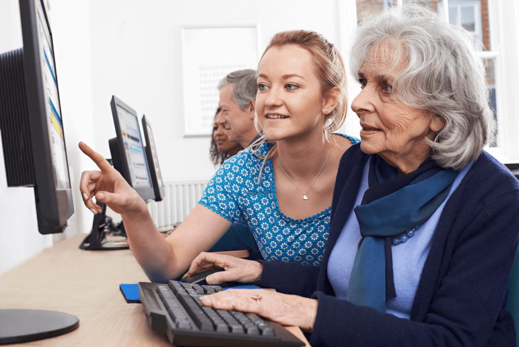 people using desktop computers at Towncenter assisted living community