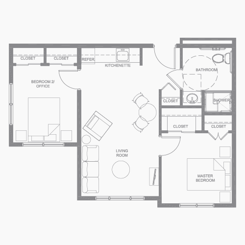 Two bedroom floor plan for TLC assisted living community