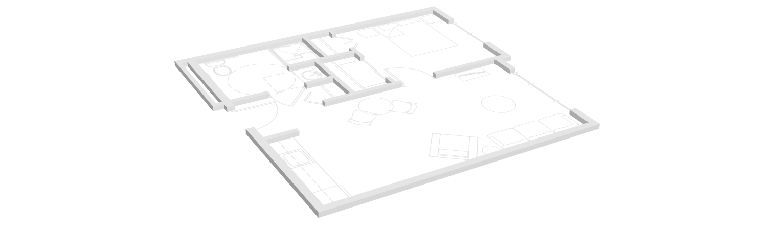 One bedroom floor plan for TLC assisted living community