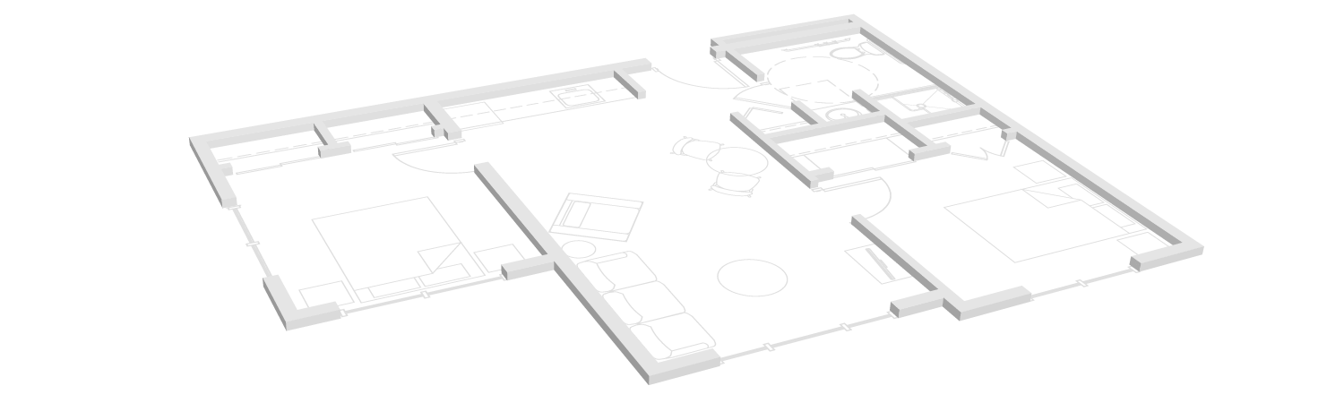 Two bedroom floor plan for Towncenter assisted living community