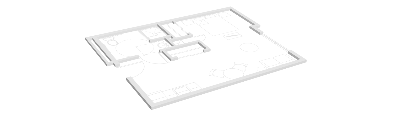 Studio floor plan for TLC assisted living community